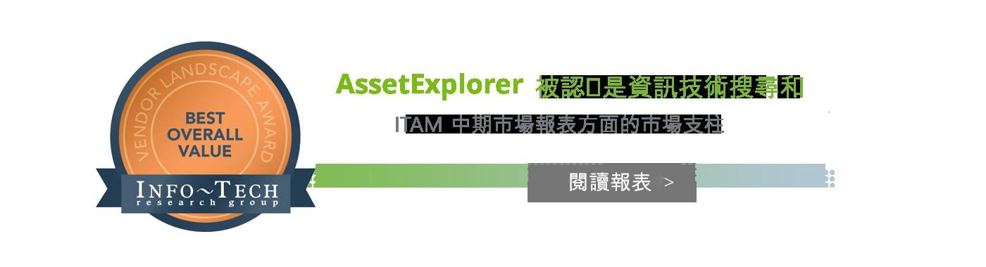 AssestExplorer 被認為是資訊技術搜尋和 ITAM 中期市場報表方面的市場支柱
