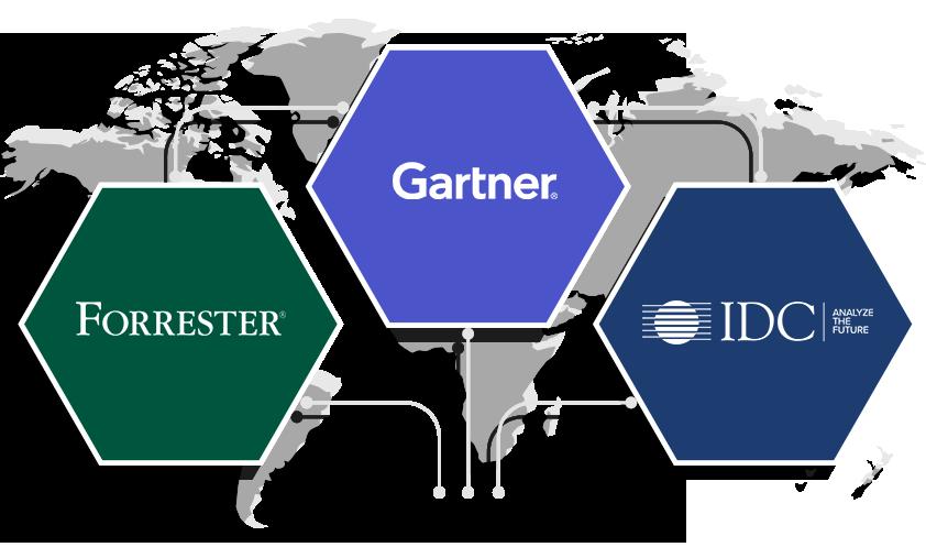 榮譽入選 2019 Gartner Magic Quadrant、Forrester Wave 和 IDC MarketScape。